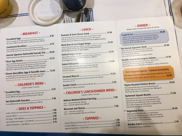 Amtrak menu