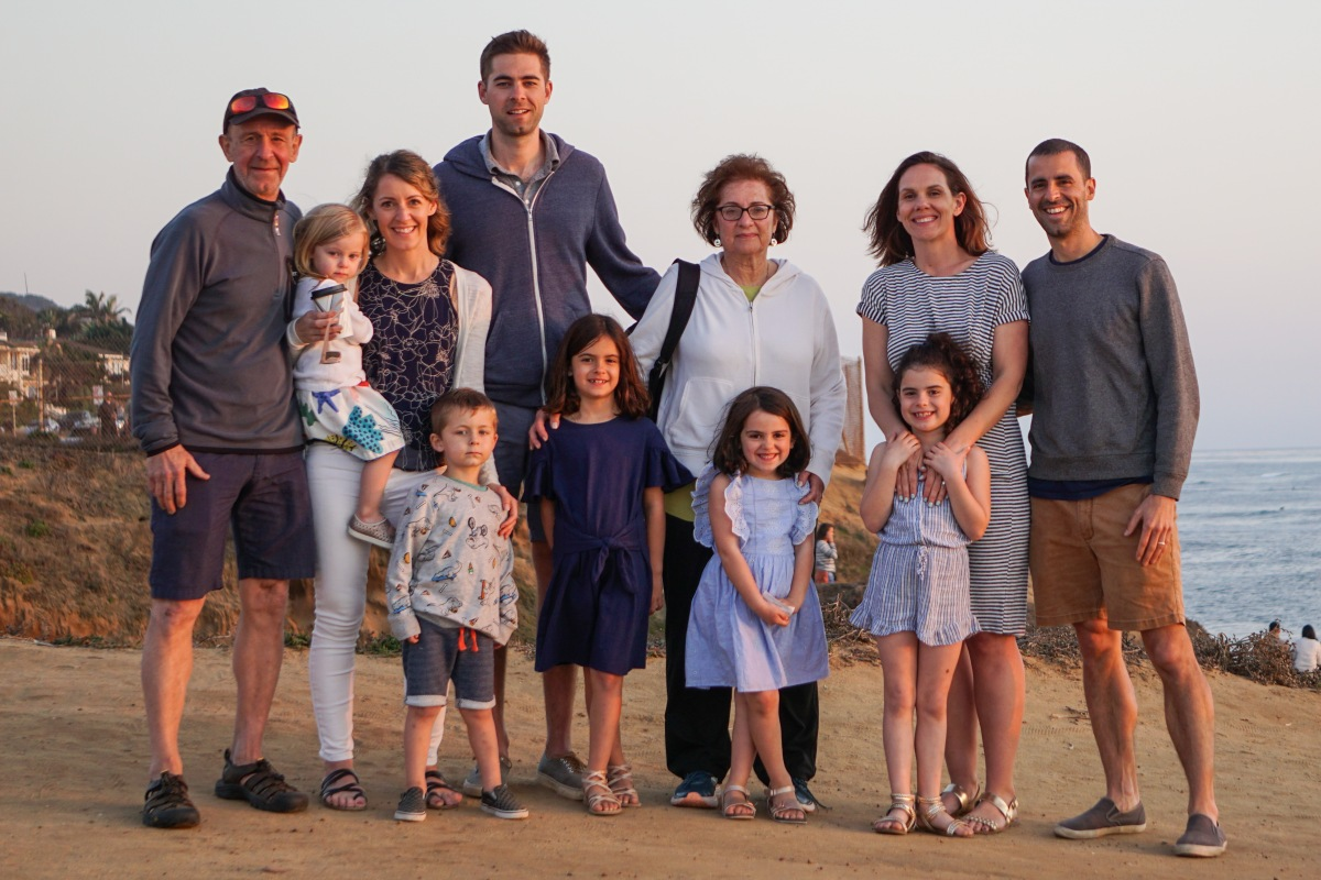 Family photo at sunset beach